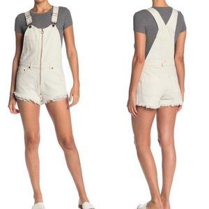 Free People Sunkissed Short Overalls Off White